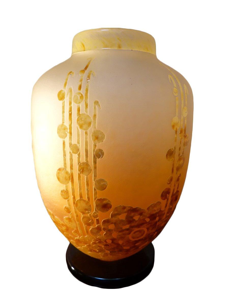 le verre francais important vase art deco aux algues