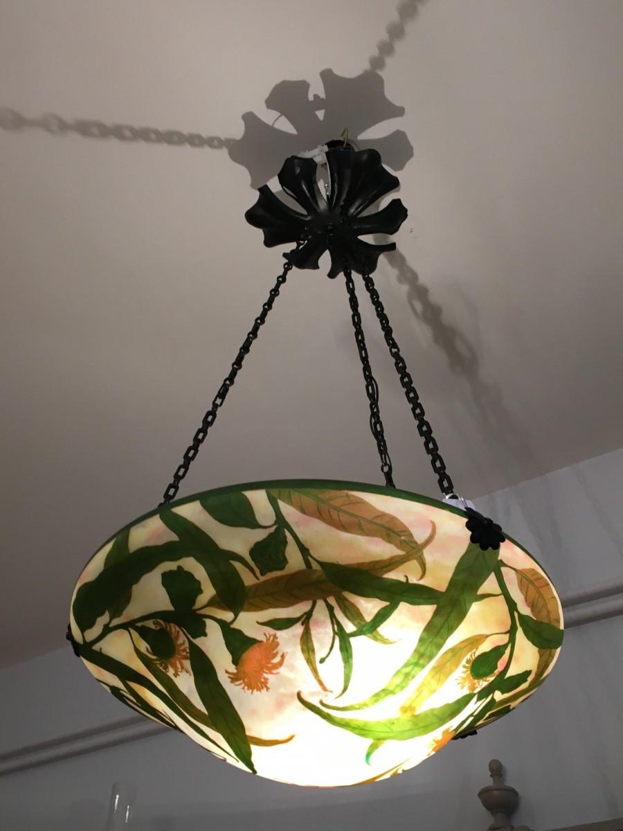 daum nancy suspension lustre plafonnier vasque decor eucalyptus art nouveau