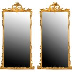 Pair Of Large Wooden Framed Mirrors Dating From The Second Half Of The 19th Century Ref 60152