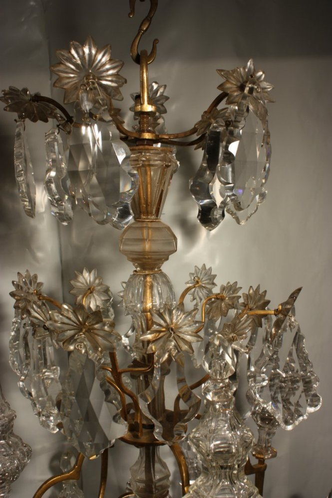 A Louis Xv Mid 18th C Gilt Bronze Mounted Crystal Chandelier