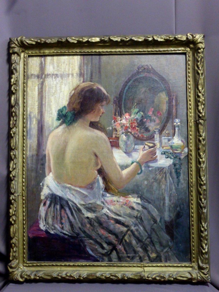 Maud Borde  Portrait de femme  sa toilette  XXe sicle  N49175