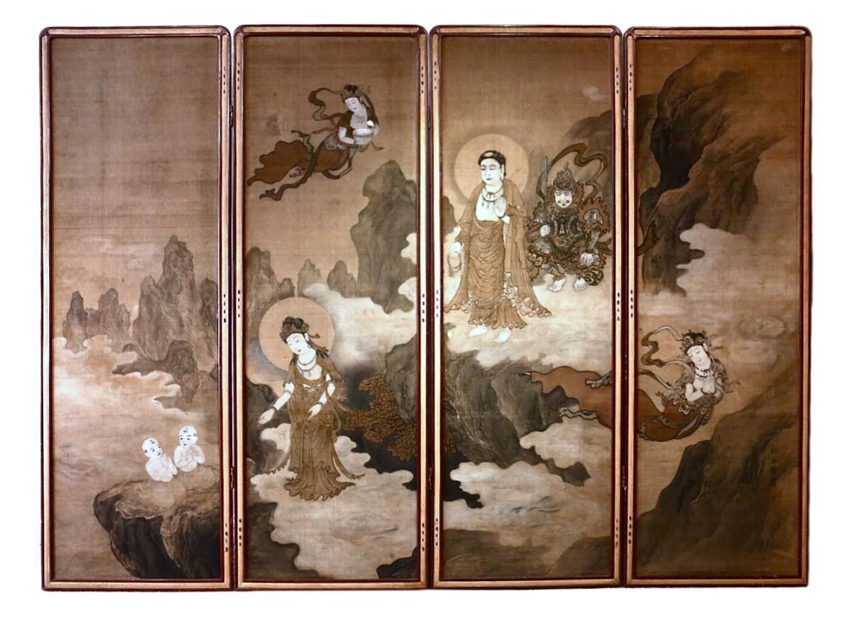 Paravent bouddhique japonais sur soie  4 panneaux  XIXe sicle  N44893