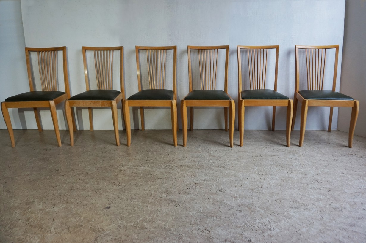 Mid Century Vintage Danish Spindle Back Dining Chairs