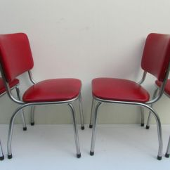 Red Retro Kitchen Chairs Office Chair Wont Stay Up Vinyl 50s Bel Air Art Deco Dining