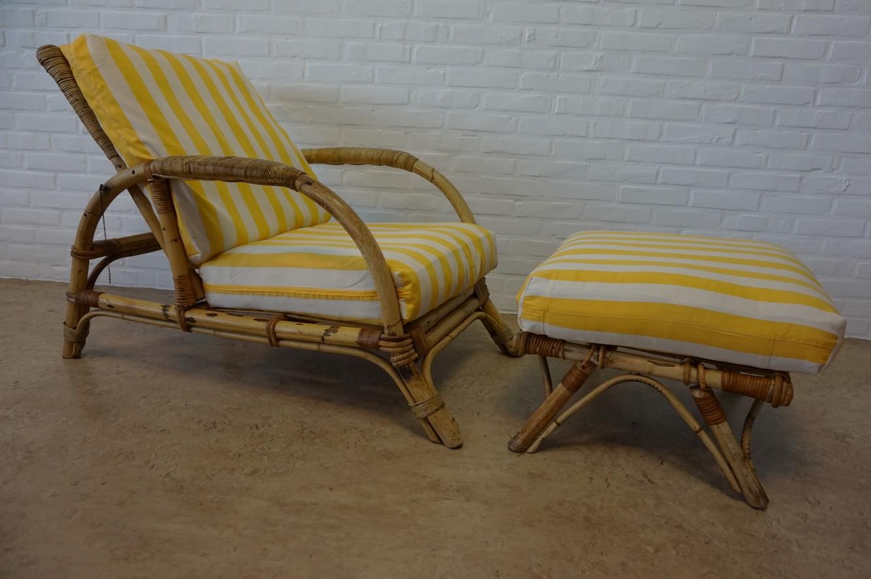 kohl lounge chair met voetenbank thermarest easy vintage retro verstelbare bamboe rotan stoel