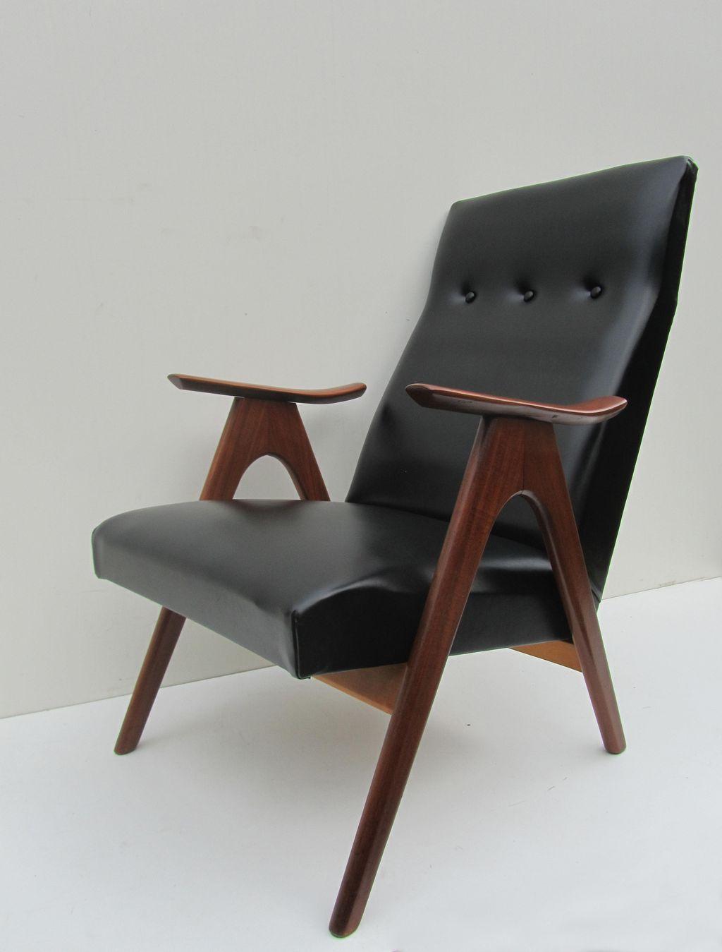 Vintage teak retro fauteuil lounge chair