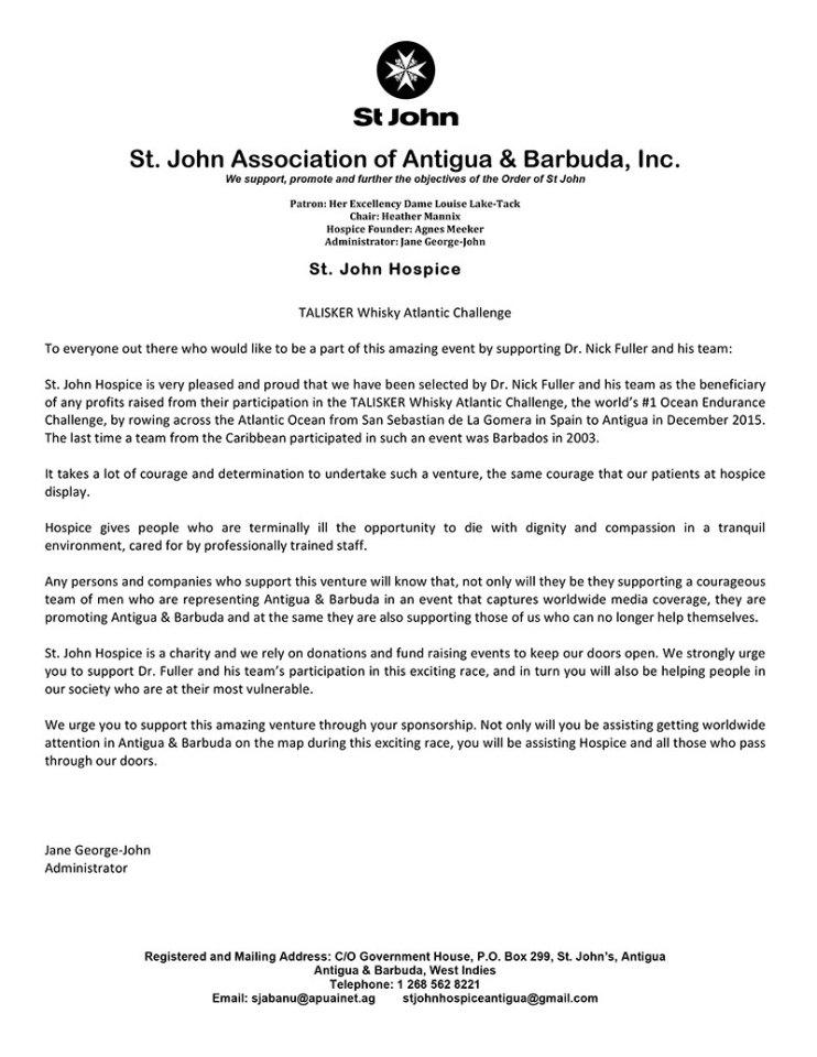 St John Hospice Letter