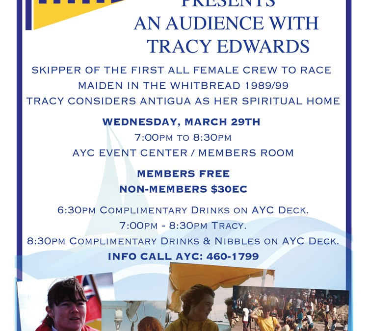 Tracy Edwards at AYC – Wed 29th March