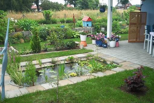 kleiner garten ohne rasen wasser seerosen - boisholz, Garten und Bauten