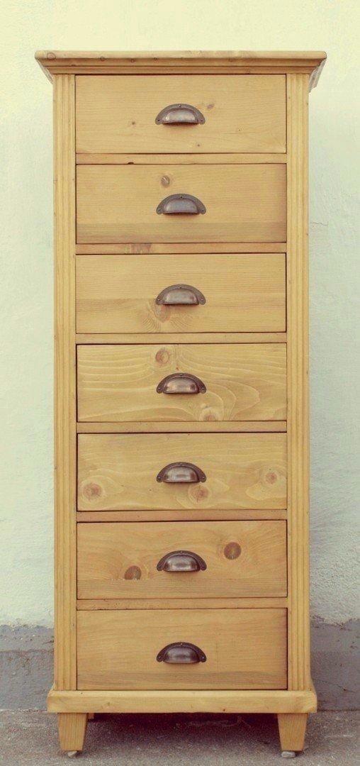 Massivholz Hochkommode mit 7 Schubladen Fichte  groe Auswahl