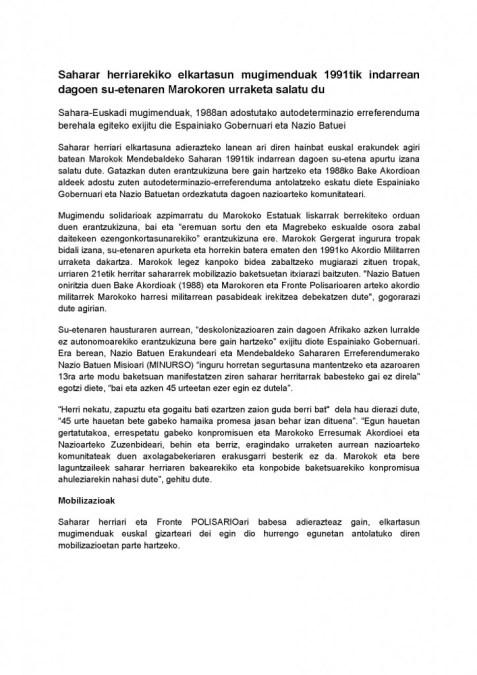 KOMUNIKATUA Sahara Euskadi mugimenduak