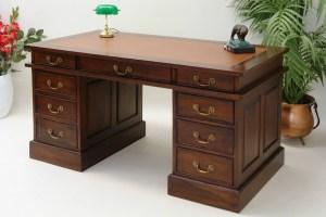 Schreibtisch Computertisch Bürotisch Massivholz braune Echtleder Auflage 1087   eBay