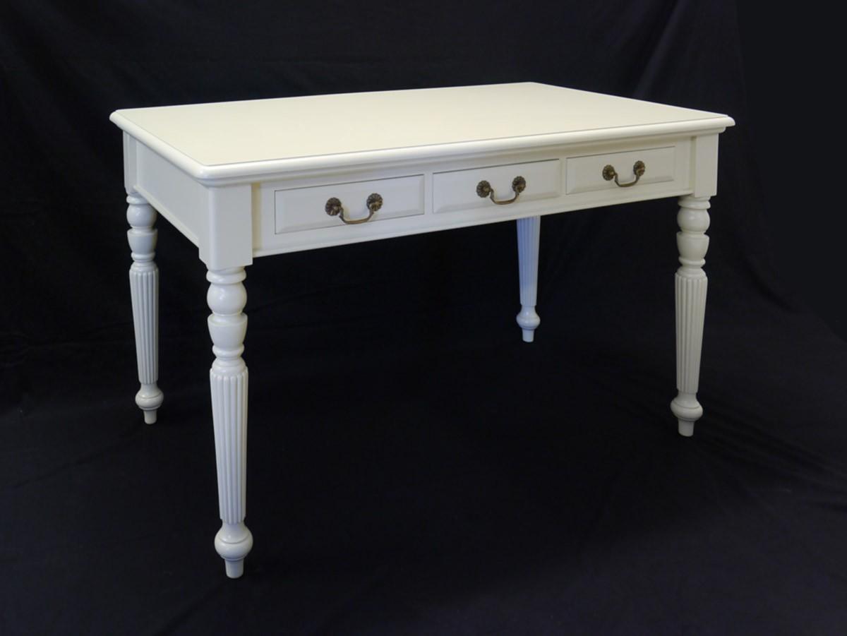 Schreibtisch Tisch Antik Stil cremewei mit 3 Schubladen