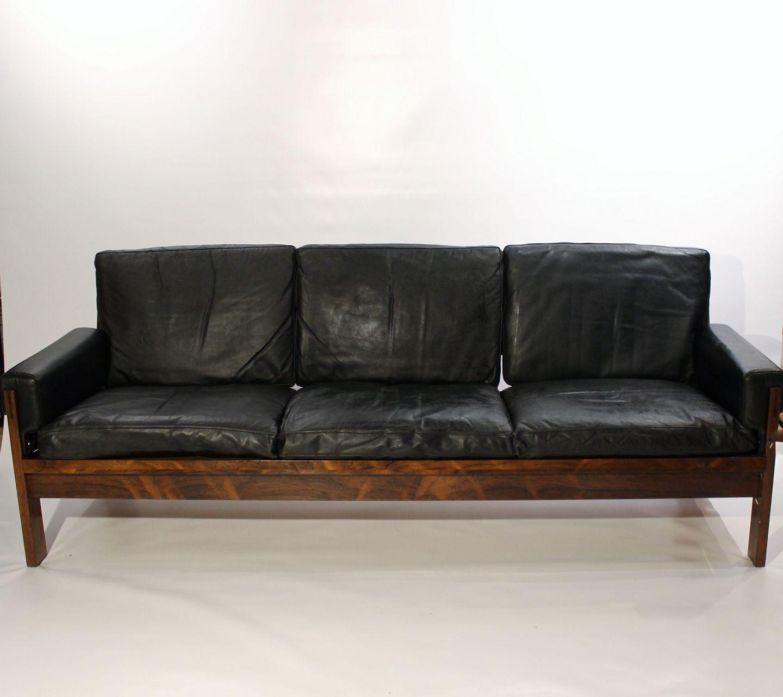 Www Antikvitet Net Sofa I Palisander Og Sort Laeder Af Dansk Design Fra 1960erne 5000m2 Udstilling