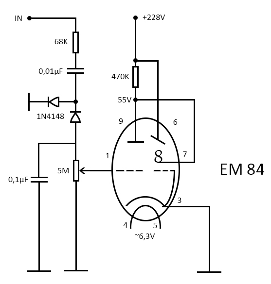 VU-meter with EM84 tube