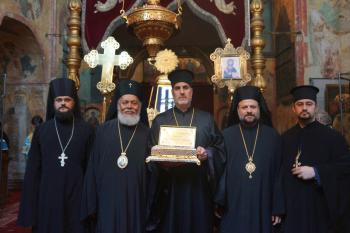 L-R: Hieromonk Stephan (from the Dept. of External Relations), Archbp. Niphon, Fr. Thomas Zain, Bp. Nicholas, Fr. Mousa Haddad