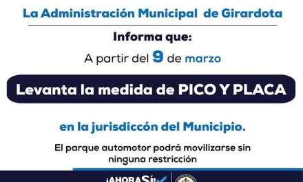 Del dicho al hecho: Girardota retira la medida del pico y placa