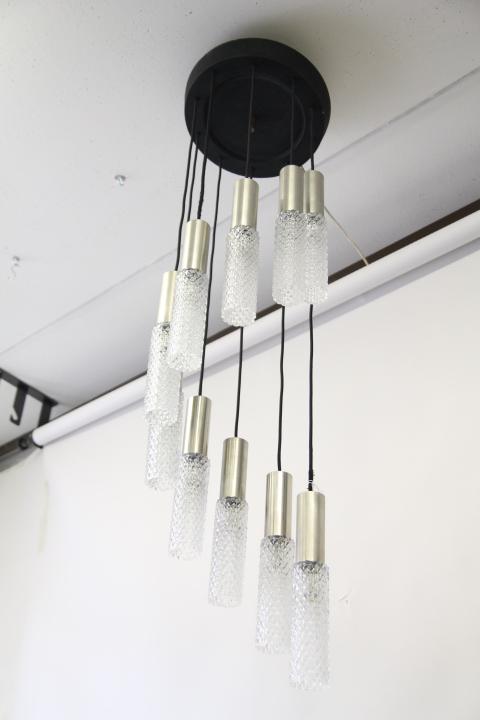 Lampadario vistosi, 30 dischi in vetro di murano, 3 lampadine. Lampadario Chandelier Plafoniera Anni 60 Design Murano E Acciaio A Sospensione Restaurato Vintage Antiquariato Costa
