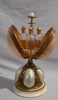 Antique French mother of pearl and ormolu perfume bottle