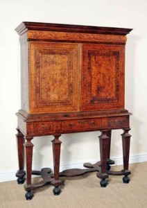 c1690 marquetry cabinet on stand
