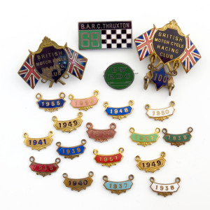 Brooklands Motor Cycle Racing Club, pre-war badges, year clasps and racing trophies