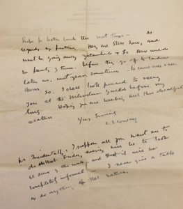 A hand-written letter from LS Lowry