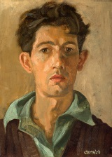 Norman Cornish, self portrait, oil on board 36.5 x 26.5cm, private colletion