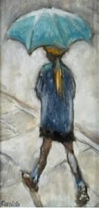 Norman Cornish Little Girl with Umbrella