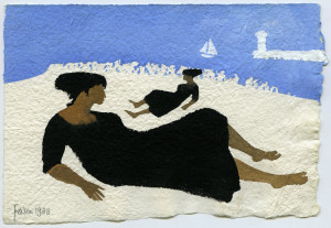 Mary Fedden (1915-2012) British. Study of a Girl on a Beach, with a Sailing Boat, and a Lighthouse beyond
