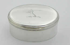 HR OVAL TOBACCO BOX BY JOHN HILLERY OR JOHN HUMPHREYS