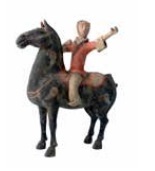 Chinese Han Dynasty earthenware horse and rider
