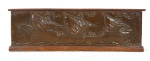 Arts & Crafts copper clad, oak book trough
