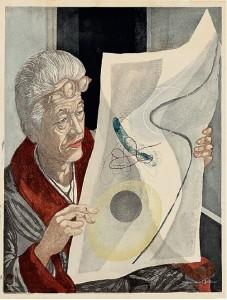Sekino Jun'ichirô (1914–88) Portrait of Onchi Koshiro, 1952, 64.8 x 49.5 cm (251⁄2 x 191⁄2in.). © Nihon no Hanga, Amsterdam