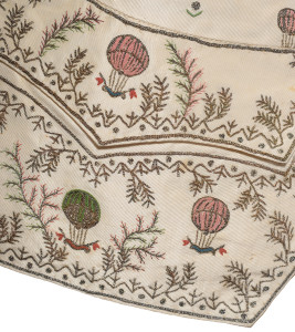 Hot-air balloon detail on 18th century waistcoat