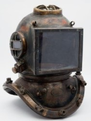 An antique diving helmet