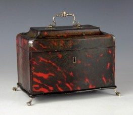 Red tortoiseshell tea caddy