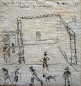 The Old Handball Court, Nelson, by LS Lowry £7000-10000