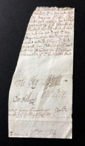 Historic document fragment with the signatures of four of King Charles I's regicides