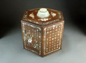 Mother of pearl and jade inlaid rosewood hexagonal treasure box