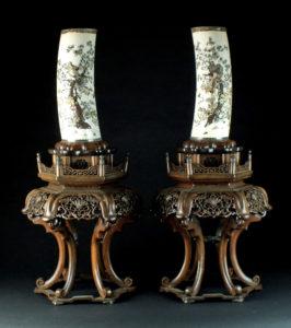 silver-mounted Shibayama-inlaid ivory tusk vases