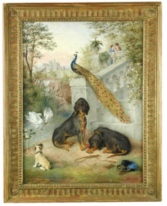 Edwin Frederick Holt, Two Bloodhounds waiting for a pair of lovers