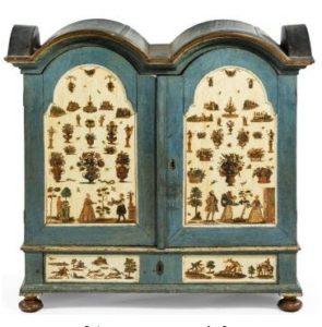 Painted 'arte povera' decoupage small cabinet, c1700, Augsburg