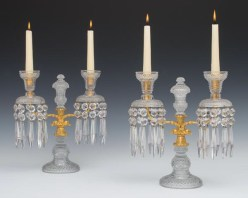 """A fine pair of ormolu mounted and cut-glass Regency period candelabra, English, 12"""" high x 11½"""" wide, c 1815, £4,800 from Fileman Antiques"""