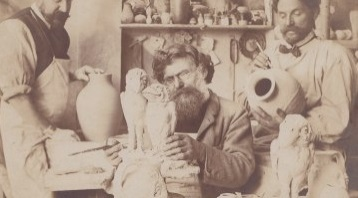 Martin Brothers working on their pottery