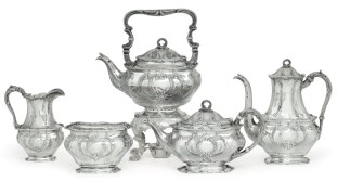 An American silver five-piece tea and coffee service