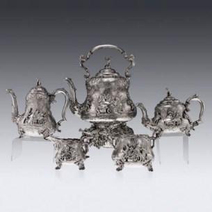 Victorian solid silver 5ps Teniers tea & coffee set