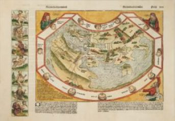 An incunable world map decorated with bizarre creatures.