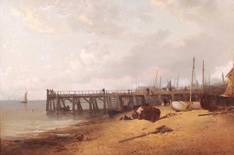 Edward Robert Smythe (1810-1899) - Preparing the fishing boats on Yarmouth jetty, oil on canvas. Sold for £4,600 in 2015