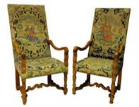 a pair of C18th needlework chairs similar to those in Francis & Elizabeth's manor house