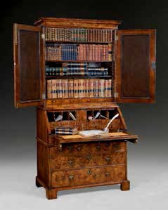 Queen Anne burr walnut bureau bookcase